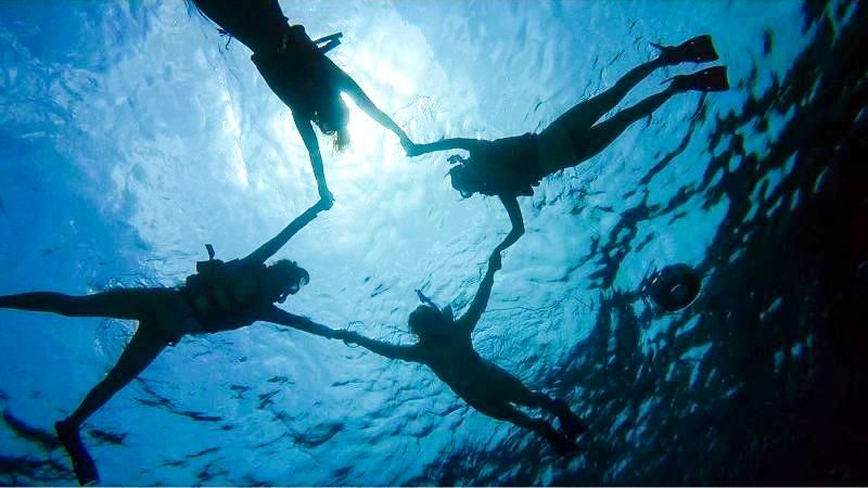 海底からのシュノーケリング撮影