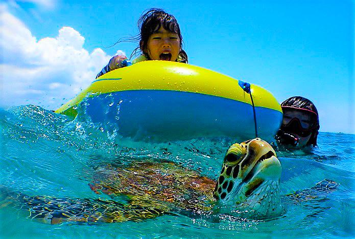 3歳のお子様でも楽しめるウミガメシュノーケリング