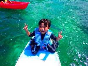 宮古島ビーチSUP、子供、笑顔